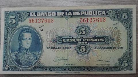 Billete Antiguo Colombiano 5 Pesos Cordoba 1949 Azul Como Bueno. TIENDA EXONICA