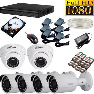 Cctv Kit Combo De 6 Camaras De Seguridad Resolucion Full HD 1080p Dahua. TIENDA EXONICA