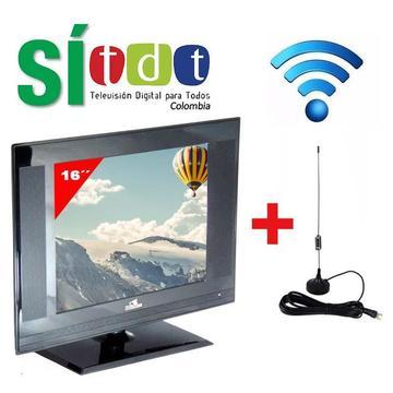Televisor HD 16 Pulgadas LED Con TDT, Monitor PC, Gratis Antena TDT Nuevos, Originales, Garantizados
