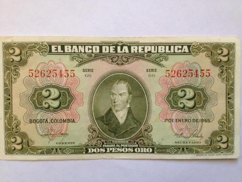 BILLETE ANTIGUO COLOMBIANO 2 PESOS TORRES VERDE 1955 NUEVO TIENDA EXONICA