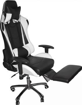 silla Gamer Pro Gaming Escritorio Alcolchonable JYX0132 Reclinable descansa pies Blanco Con Negro.. Tienda Exonica Nuevo