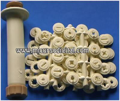 Inyector duya plástica tipo jeringa más 64 boquillas discos