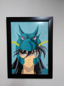 Pintura en acrílicos de Shiryū de Dragón con marco y vidrio anti reflejo
