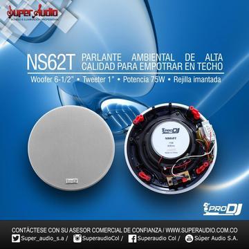 PARLANTE DE TECHO PARA SONIDO AMBIENTAL PRO DJ NS62T apto para zonas Humedas