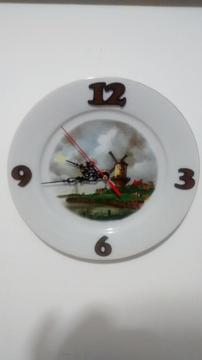 reloj, reloj de pared, plato de porcelana antiguo, ideal para hotel restaurante casa finca